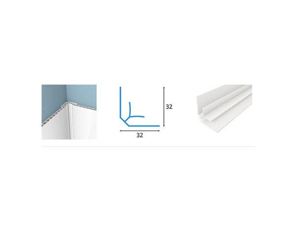 Вътрешен ъгъл за PVC ламперия - 3.2 x 3.2 x 300 cm