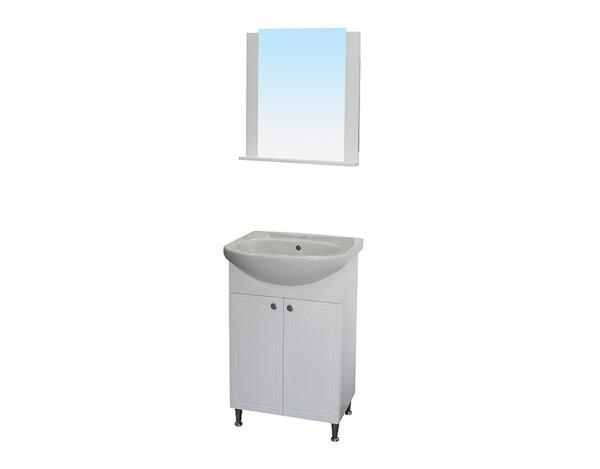 """Комплект долен  и горен шкаф за баня - огледало """"Пионер"""" и мивка """"Нео"""""""