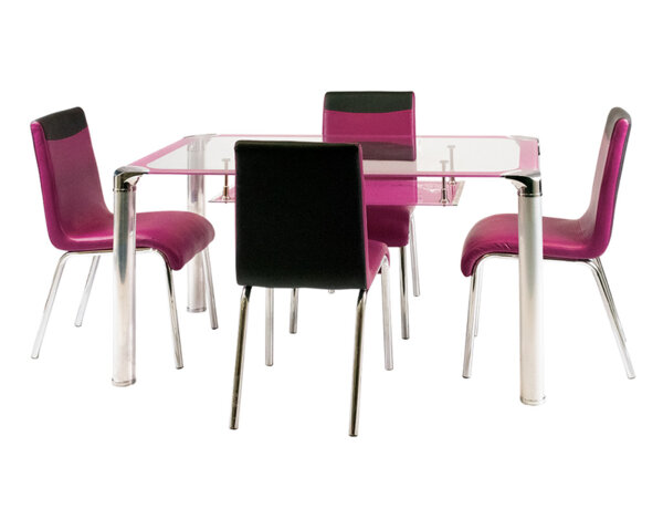 Трапезен стол - лилав/черен