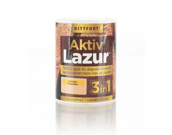Нано лак Aktiv Lazur 3 в 1 за дърво - 0.75 l, различни цветове