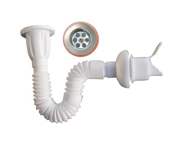 Сифон за мивка с гофрирана връзка и клапа - ø76 mm