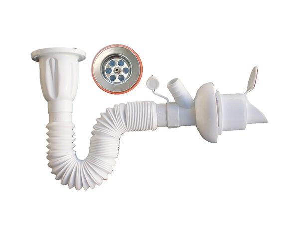 Сифон за мивка с гофрирана връзка и клапа - различна дължина