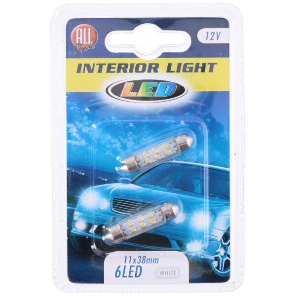 LED светлини за автомобил, бяла светлина - 12 V, 6 LED