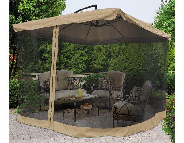 Чадър със стойка и комарник – 2.65 x 2.65 m, бежов