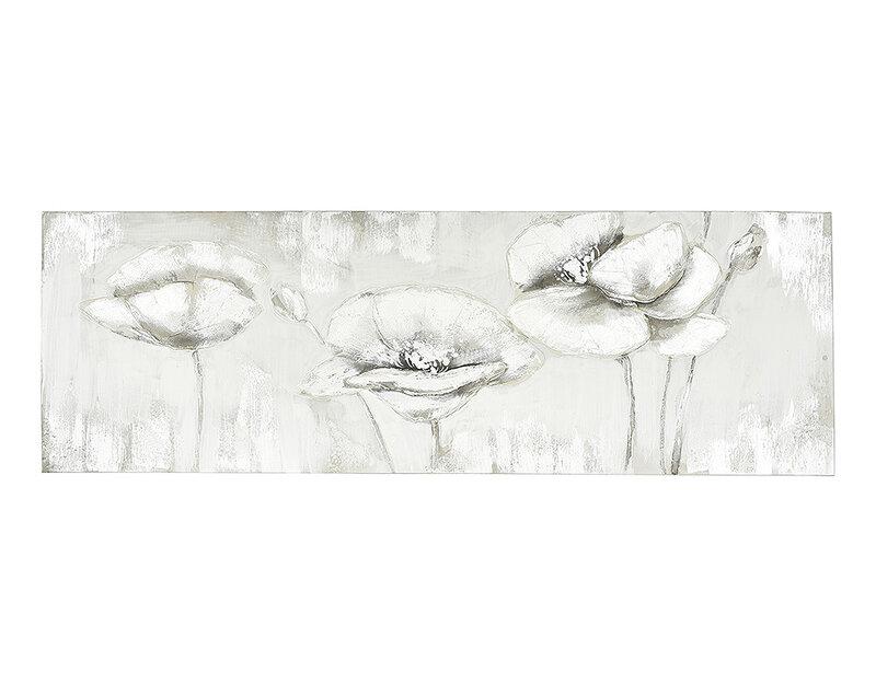 """Дървена картина """"Макове в сивота"""" - 150 x 50 cm"""