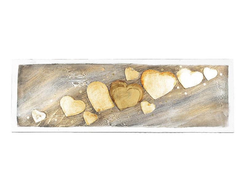"""Дървена картина """"Златните сърца"""" - 150 x 50 cm"""