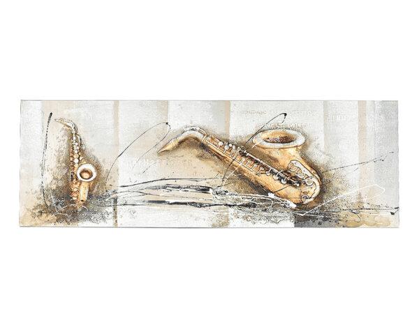 """Дървена картина """"Музика със саксофон"""" - 150 x 50 cm"""