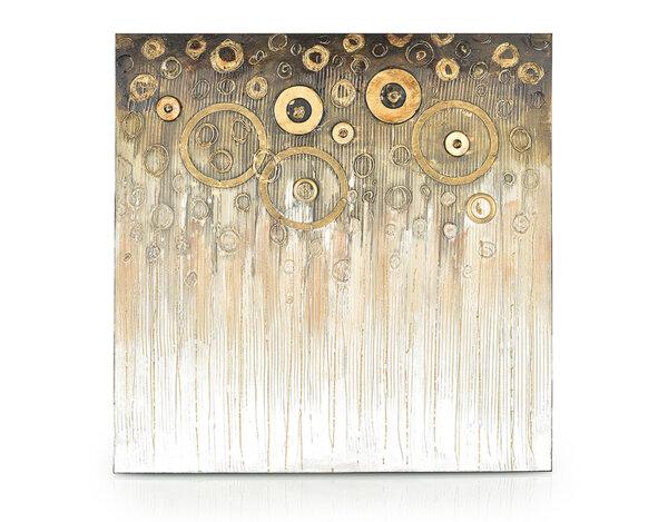 """Дървена картина """"Златни кръгове"""" - 80 x 80 cm"""