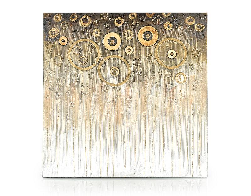 """Дървена картина """"Златни кръгов"""" - 80 x 80 cm"""