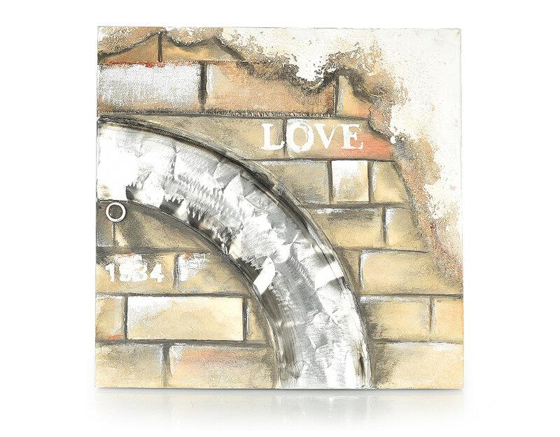 Дървена картина Love - 80 x 80 cm