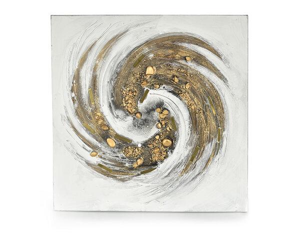 """Дървена картина """"Златен кръговрат"""" - 80 x 80 cm"""