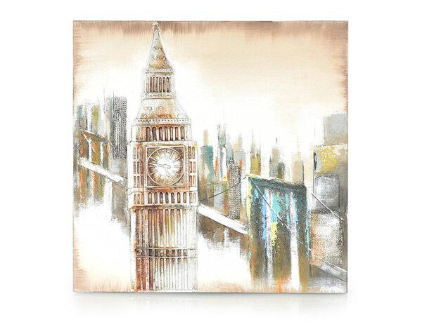 Дървена картина Big Ben - 80 x 80 cm