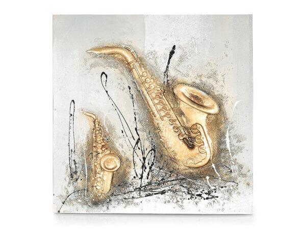 """Дървена картина """"Музика със саксофон"""" - 80 x 80 cm"""
