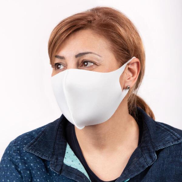 Трипластова маска за многократна употреба - бяла