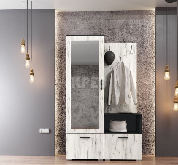Портманто City 4007, бял дъб/черно - с огледало