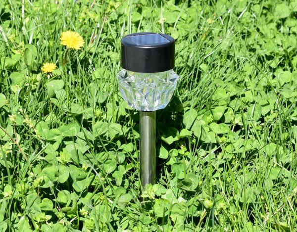 Соларна лампа, PVC + метал + стъкло - 6 x 6 x 36 cm