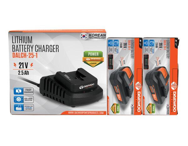 """Комплект зарядо """"Uni-Bat"""" 21 V, 2.5 Ah и 2 батерии """"Uni-Bat"""" 20 V, 2.0 Ah"""