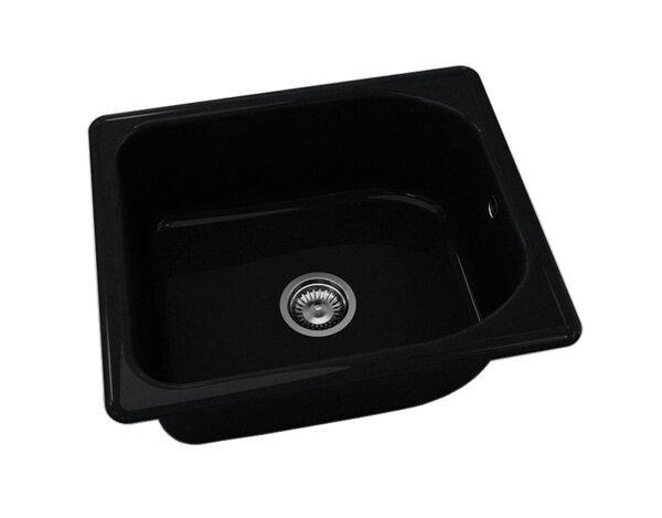 Квадратна мивка №210 - 60x51см Черен гранит