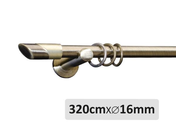Единичен метален корниз антично злато - 320см