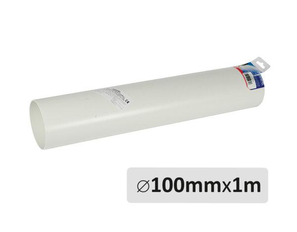 Пластмасов въздухопровод - ø100mm x 1m