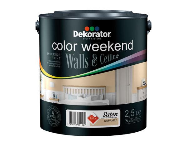 Латекс Color Weekend Satin - 2.5 l, различни цветове