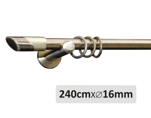 Единичен метален корниз антично злато - 240см