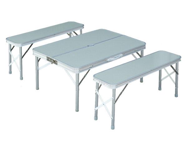 Сгъваема маса за къмпинг с 2 пейки