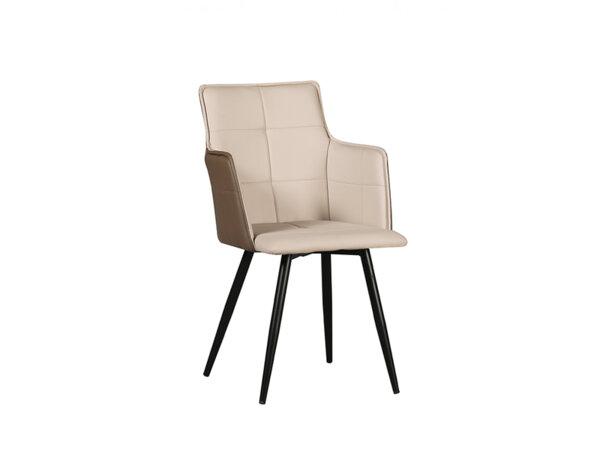 Трапезен стол К300 - еко кожа, бежово-кафяв