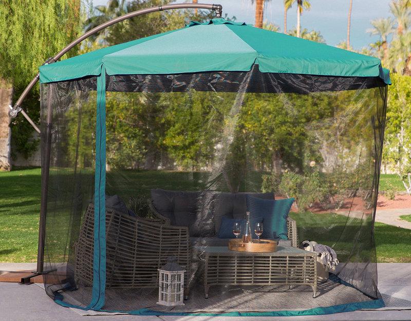 Градински чадър с комарник - зелен, ø300 cm