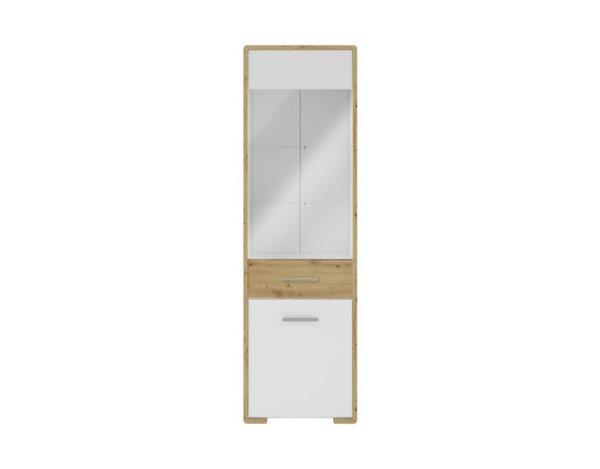 "Витрина Buka, дясна - 58 x 40 x 194.5 cm, бяло/дъб ""Артизан"""