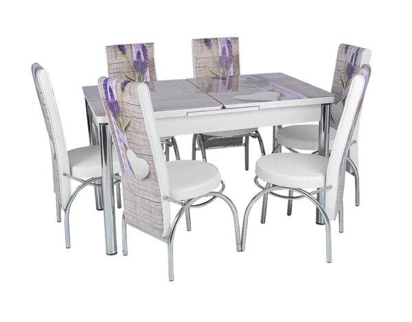 Трапезен комплект - маса с 6 стола, сив