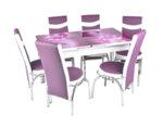 Трапезен комплект - маса с 6 стола, лилав