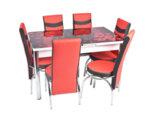 Трапезен комплект - маса с 6 стола, червен/черен