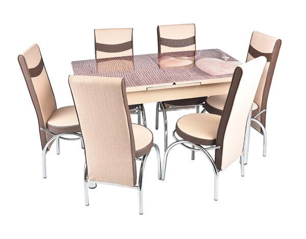 Трапезен комплект - маса с 6 стола, бежов с кафяво