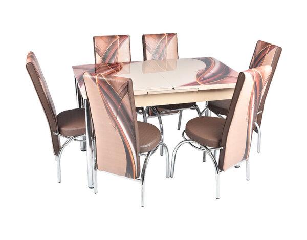 Трапезен комплект - маса с 6 стола, кафяв с принт