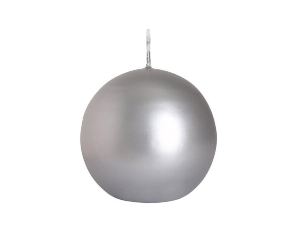 Свещ Ball - сив маталик, ø8 cm