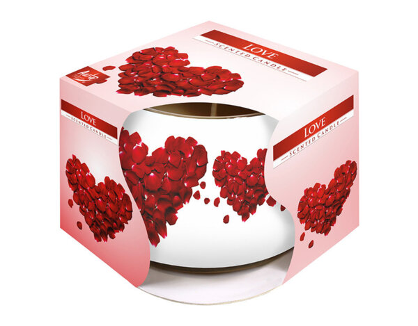 Ароматизирана свещ в украсена чаша, ø8 x 7 cm - любов