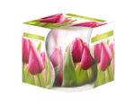 Ароматизирана свещ в украсена чаша, ø8 x 7 cm - цветя