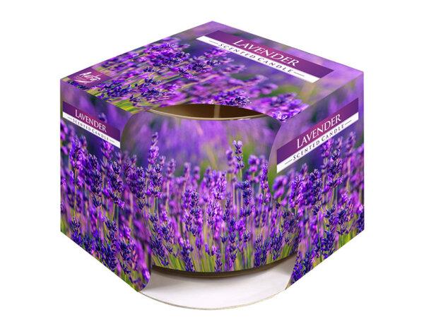Ароматизирана свещ в украсена чаша, ø8 x 7 cm - лавандула