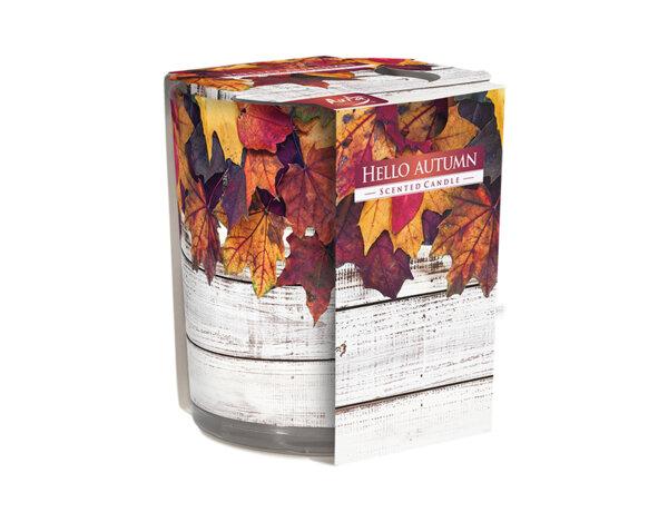 "Ароматизирана свещ в украсена чаша, ø7.8 x 7.2 cm - ""Здравей, есен"""