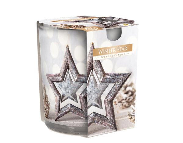 Ароматизирана свещ в украсена чаша, ø7.8 x 7.2 cm - коледна звезда