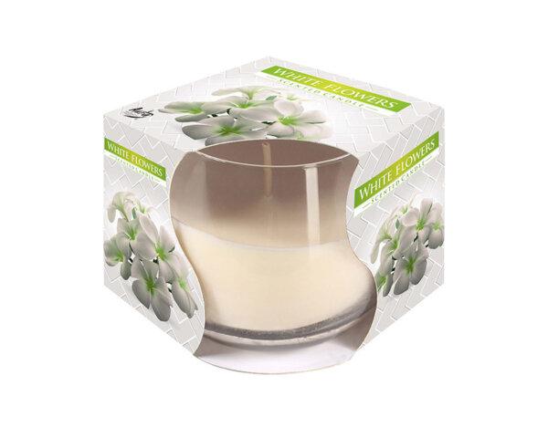 Ароматизирана свещ в чаша, ø8 x 7 cm - бели цветя