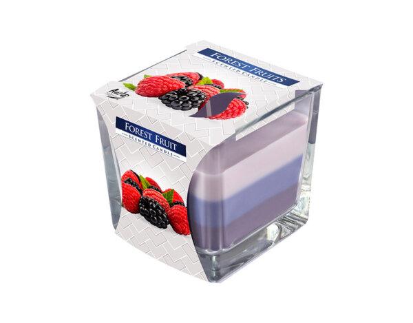 Ароматизирана свещ в чаша, три цвята - 8 x 8 x 8 cm, горски плодове