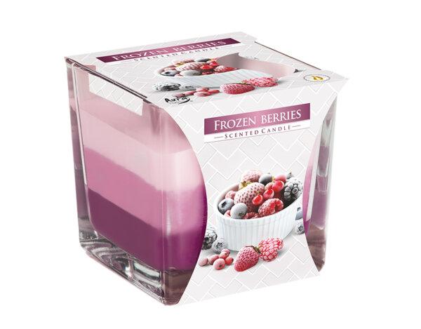 Ароматизирана свещ в чаша, три цвята - 8 x 8 x 8 cm, замразени горски плодове