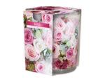 Ароматизирана свещ в украсена чаша, ø7.8 x 7.2 cm - рози