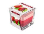 Ароматизирана свещ в чаша, три цвята - 8 x 8 x 8 cm, ягода
