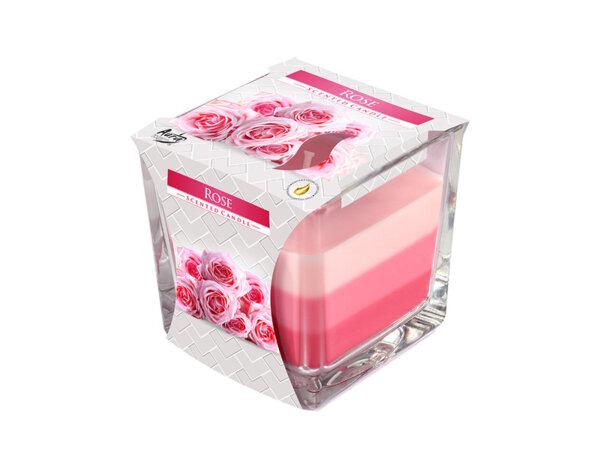 Ароматизирана свещ в чаша, три цвята - 8 x 8 x 8 cm, роза