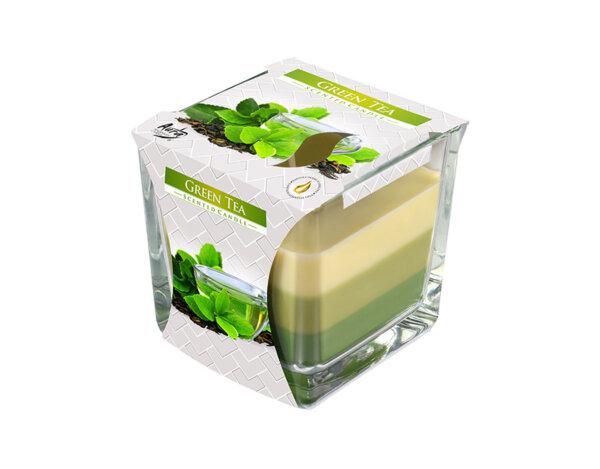 Ароматизирана свещ в чаша, три цвята - 8 x 8 x 8 cm, зелен чай
