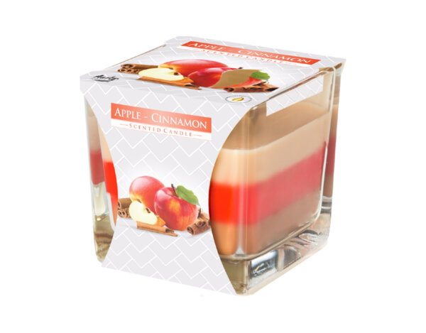 Ароматизирана свещ в чаша, три цвята - 8 x 8 x 8 cm, ябълка/канела