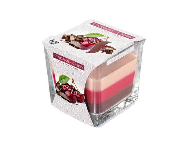 Ароматизирана свещ в чаша, три цвята - 8 x 8 x 8 cm, шоколад/вишна